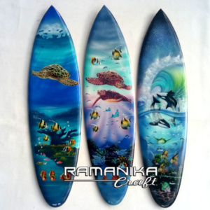 bali surfboard airbrush aquarium wall hanging sbabqh