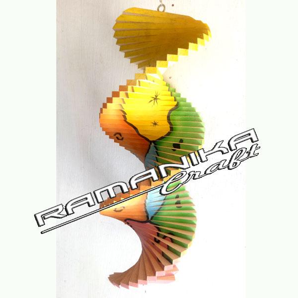 bali chime wood painting spiral handicraft cmwps3