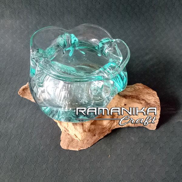 bali molten glass wood teapot handicraft gwfla
