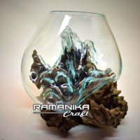 Bali glass wood aquarium handicraft