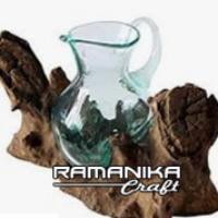 Bali glass wood teapot handicraft