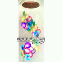 Bali Chime Capiz Spiral Color Top Wood Handicraft